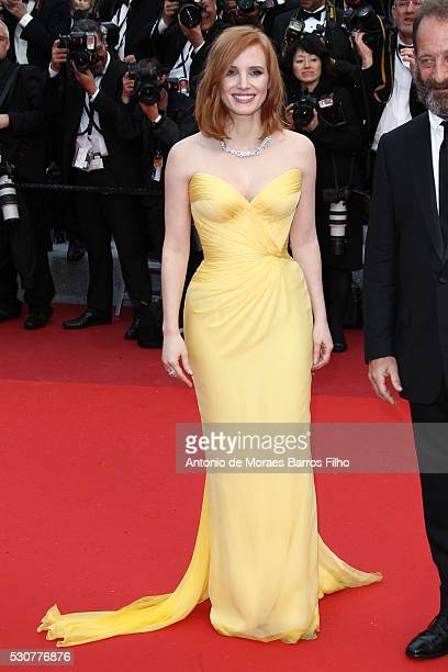 Jessica Chastain arrives at 'Cafe Society' Opening Gala of the 69th Annual Cannes Film Festival on May 11 2016 in Cannes