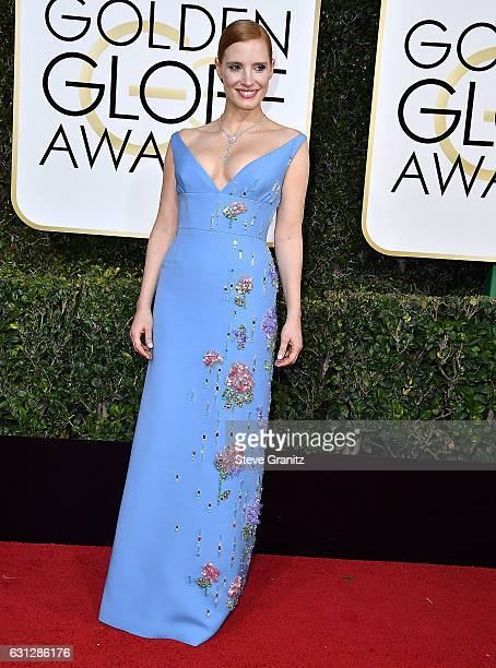 Jessica Chastain arrives at the 74th Annual Golden Globe Awards at The Beverly Hilton Hotel on January 8 2017 in Beverly Hills California