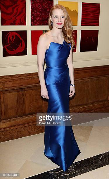 Jessica Chastain arrives at the after party following the EE British Academy Film Awards at Grosvenor House on February 10 2013 in London England