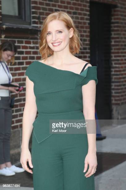 Jessica Chastain arrives at the at Ed Sullivan Theater for her appeance on The Late Show With Stephen Colbert on September 25 2018 in New York City