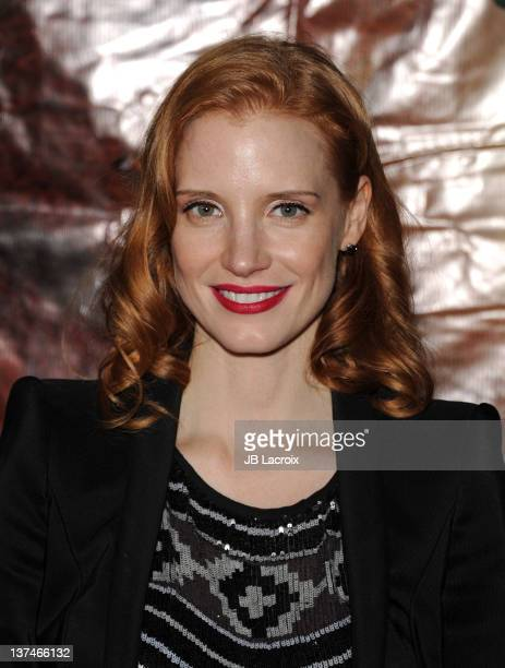 Jessica Chastain arrives at the Cirque du Soleil 'OVO' Celebrity Opening Night Gala at Santa Monica Pier on January 20 2012 in Santa Monica California