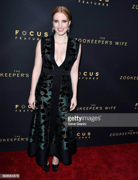 Jessica Chastain arrives at the Premiere Of Focus Features' The Zookeeper's Wife at ArcLight Hollywood on March 27 2017 in Hollywood California