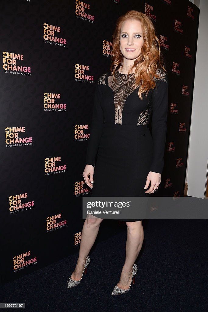Jessica Chastain arrives at the Royal Box photo wall ahead of the 'Chime For Change: The Sound Of Change Live' Concert at Twickenham Stadium on June 1, 2013 in London, England. Chime For Change is a global campaign for girls' and women's empowerment founded by Gucci with a founding committee comprised of Gucci Creative Director Frida Giannini, Salma Hayek Pinault and Beyonce Knowles-Carter.