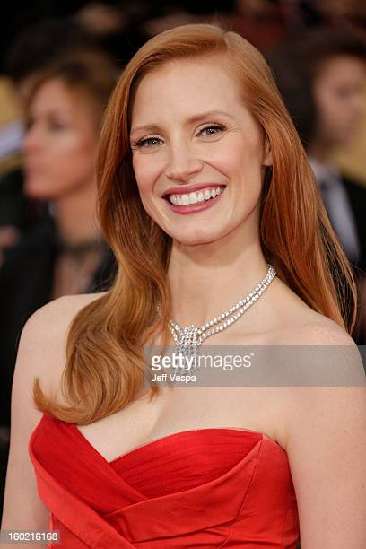 Jessica Chastain arrives at the19th Annual Screen Actors Guild Awards held at The Shrine Auditorium on January 27, 2013 in Los Angeles, California.