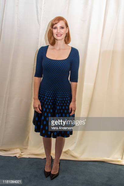 """Jessica Chastain at the """"Dark Phoenix"""" Press Conference at the Mandarin Oriental Hotel on May 22, 2019 in London, England."""