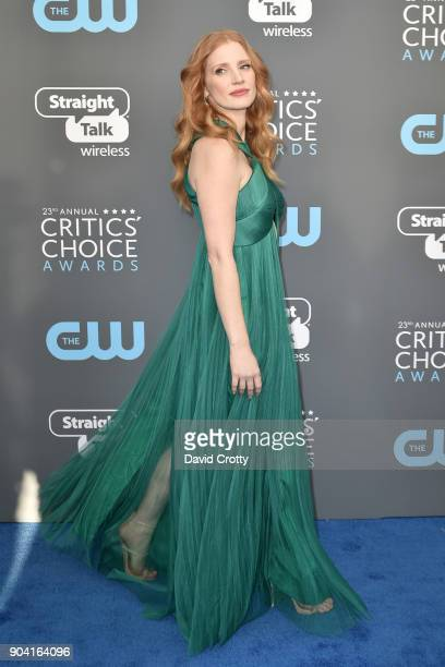 Jessica Chastain attends The 23rd Annual Critics' Choice Awards Arrivals at The Barker Hanger on January 11 2018 in Santa Monica California