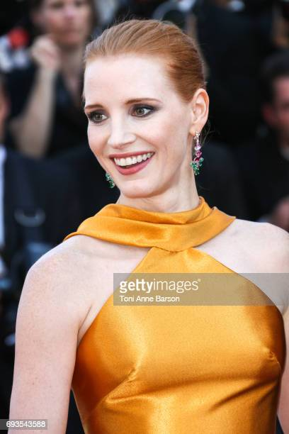Jessica Chastain attends the 70th anniversary event during the 70th annual Cannes Film Festival at Palais des Festivals on May 23 2017 in Cannes...
