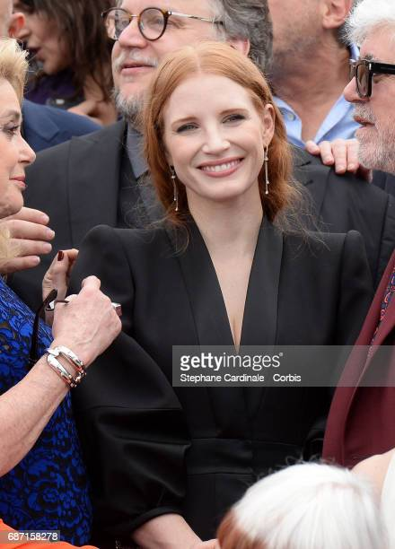 Jessica Chastain attends the 70th Anniversary photocall during the 70th annual Cannes Film Festival at Palais des Festivals on May 23 2017 in Cannes...