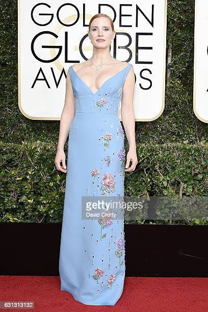 Jessica Chastain attends the 74th Annual Golden Globe Awards Arrivals at The Beverly Hilton Hotel on January 8 2017 in Beverly Hills California