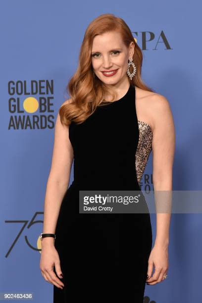 Jessica Chastain attends the 75th Annual Golden Globe Awards Press Room at The Beverly Hilton Hotel on January 7 2018 in Beverly Hills California