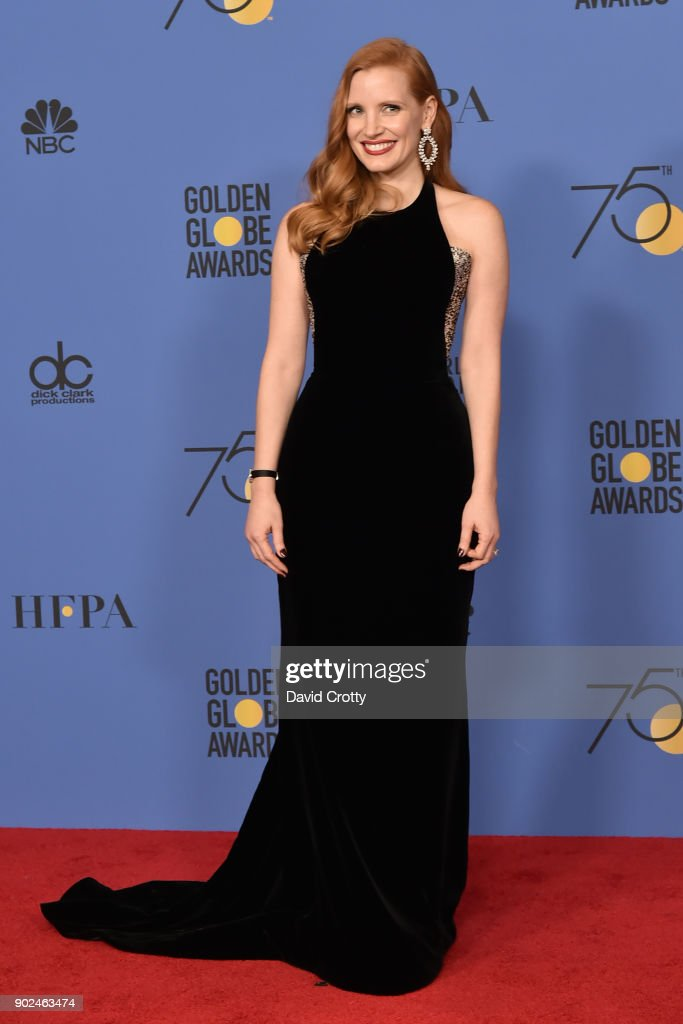 Jessica Chastain attends the 75th Annual Golden Globe Awards - Press Room at The Beverly Hilton Hotel on January 7, 2018 in Beverly Hills, California.