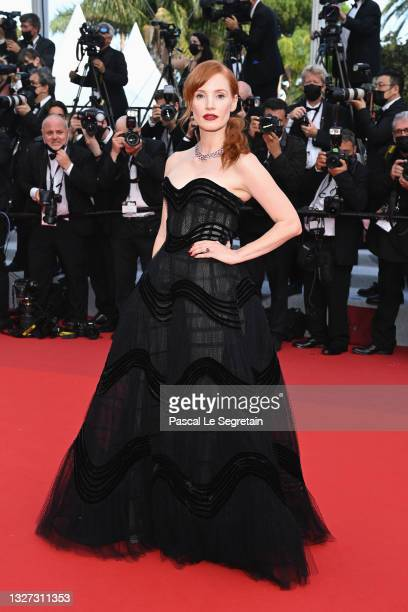 """Jessica Chastain attends the """"Annette"""" screening and opening ceremony during the 74th annual Cannes Film Festival on July 06, 2021 in Cannes, France."""