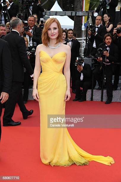 Jessica Chastain attends the 'Cafe Society' premiere and the Opening Night Gala during the 69th annual Cannes Film Festival at the Palais des...