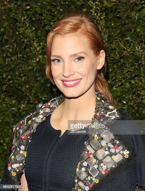 Jessica Chastain attends the Chanel And Charles Finch PreOscar Dinner at Madeo Restaurant on February 21 2015 in West Hollywood California