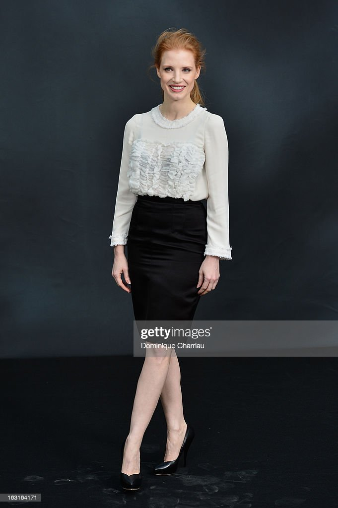 Jessica Chastain attends the Chanel Fall/Winter 2013 Ready-to-Wear show as part of Paris Fashion Week at Grand Palais on March 5, 2013 in Paris, France.