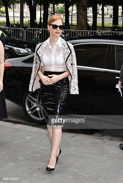 Jessica Chastain attends the Chanel show during Paris Fashion Week Haute Couture Fall/Winter 20162017 on July 5 2016 in Paris France