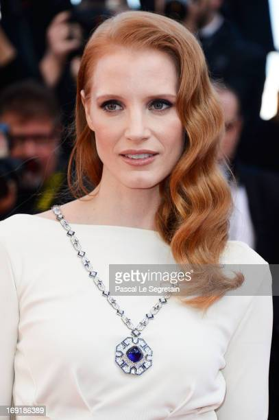 Jessica Chastain attends the 'Cleopatra' premiere during The 66th Annual Cannes Film Festival at The 60th Anniversary Theatre on May 21, 2013 in...