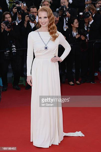 "Jessica Chastain attends the ""Cleopatra"" Premiere during the 66th Annual Cannes Film Festival at Grand Theatre Lumiere on May 21, 2013 in Cannes,..."