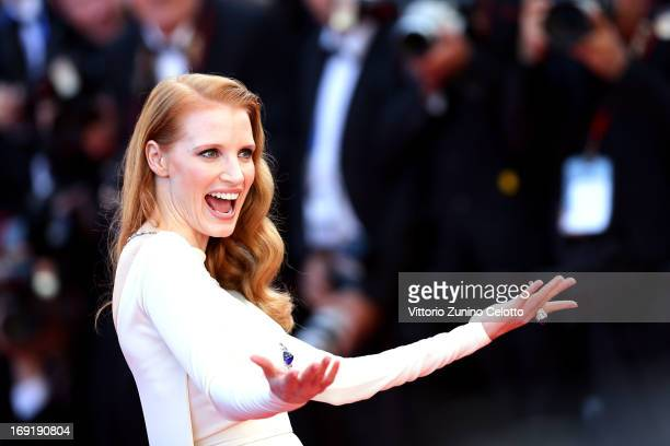 Jessica Chastain attends the 'Cleopatra' premiere during The 66th Annual Cannes Film Festival at The 60th Anniversary Theatre on May 21 2013 in...