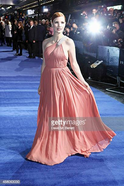 Jessica Chastain attends the European Premiere of 'Interstellar' at the Odeon Leicester Square on October 29 2014 in London England