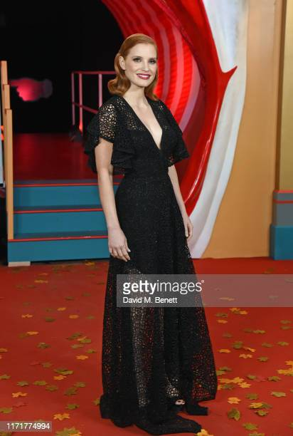 """Jessica Chastain attends the European Premiere of """"IT Chapter Two"""" at The Vaults Waterloo on September 02, 2019 in London, England."""