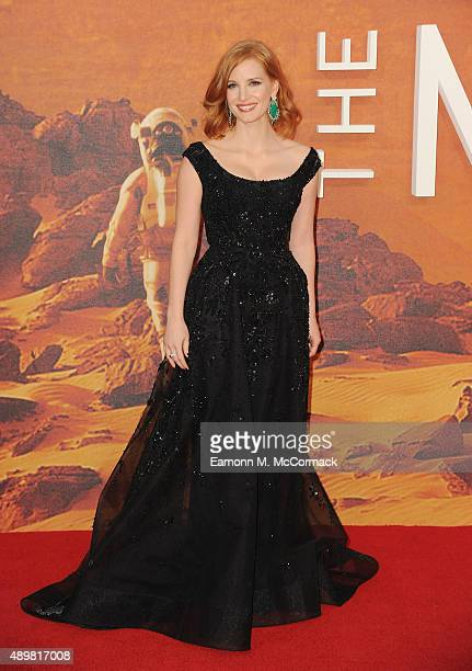 Jessica Chastain attends the European premiere of 'The Martian' at Odeon Leicester Square on September 24 2015 in London England