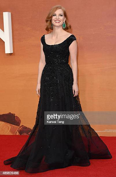 """Jessica Chastain attends the European premiere of """"The Martian"""" at Odeon Leicester Square on September 24, 2015 in London, England."""