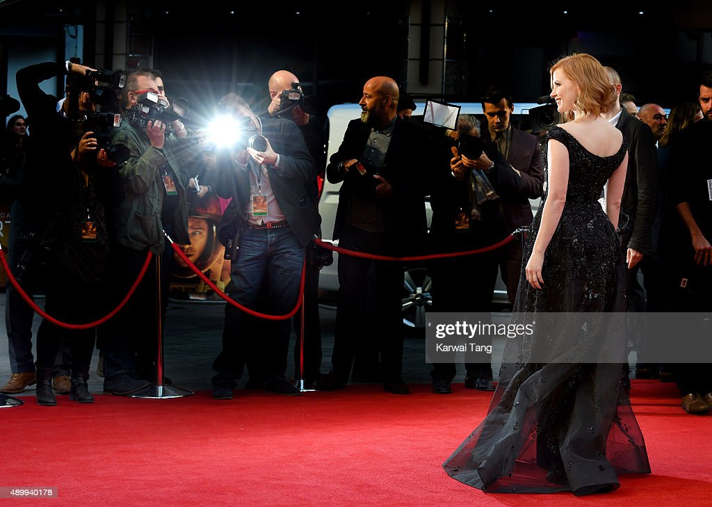 Jessica Chastain attends the European premiere of 'The Martian' at Odeon Leicester Square on September 24, 2015 in London, England.