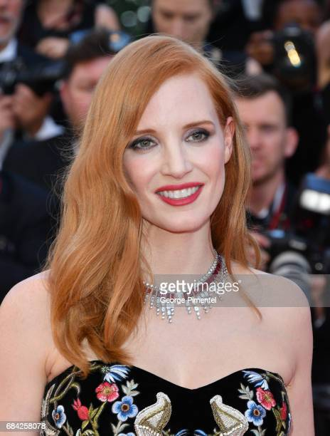 Jessica Chastain attends the Ismael's Ghosts screening and Opening Gala during the 70th annual Cannes Film Festival at Palais des Festivals on May 17...