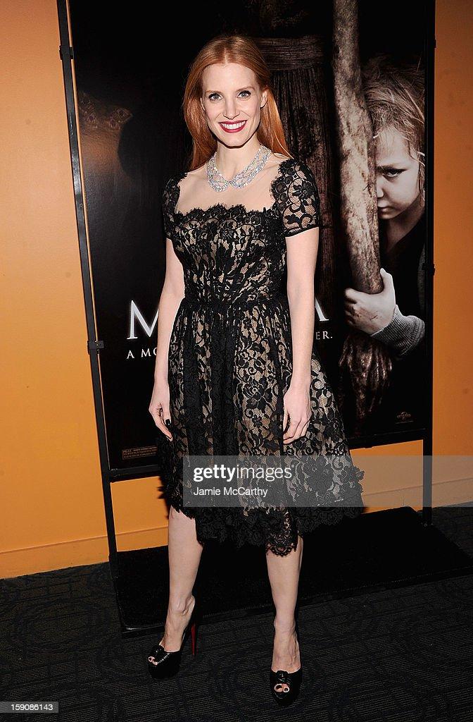 Jessica Chastain attends the 'Mama' New York Screening at Landmark's Sunshine Cinema on January 7, 2013 in New York City.