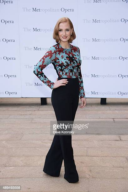 """Jessica Chastain attends the Metropolitan Opera 2015-2016 season opening night of """"Otello"""" at The Metropolitan Opera House on September 21, 2015 in..."""