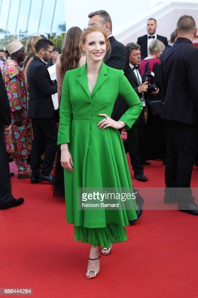 Jessica Chastain attends 'The Meyerowitz Stories' screening during the 70th annual Cannes Film Festival at Palais des Festivals on May 21 2017 in...