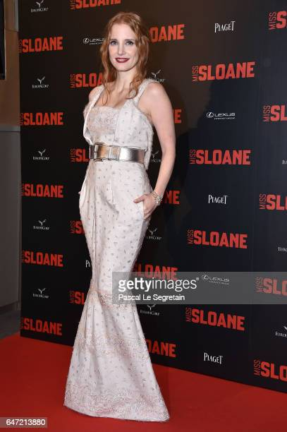 Jessica Chastain attends the 'Miss Sloane' Paris Premiere at Cinema UGC Normandie on March 2 2017 in Paris France