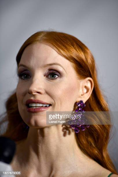 Jessica Chastain attends the photocall ahead of the Chopard Trophy dinner during the 74th annual Cannes Film Festival on July 09, 2021 in Cannes,...