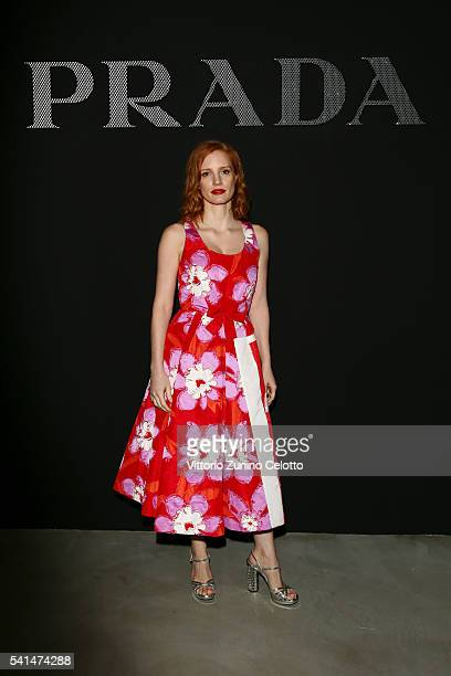 Jessica Chastain attends the Prada show during Milan Men's Fashion Week SS17 on June 19 2016 in Milan Italy