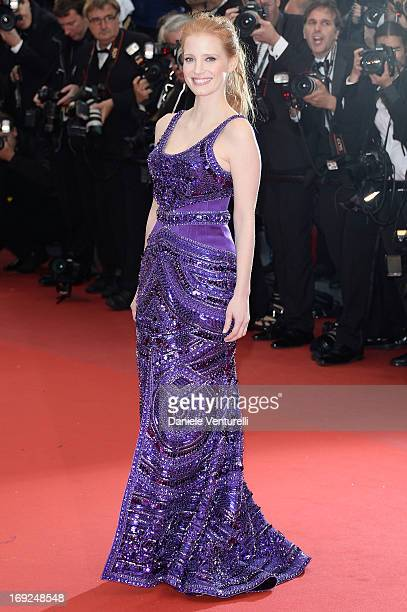 Jessica Chastain attends the Premiere of 'All Is Lost' during The 66th Annual Cannes Film Festival at the Palais des Festivals on May 22 2013 in...