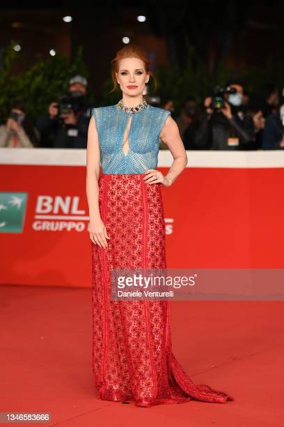 """Jessica Chastain attends the Re Carpet of the movie """"The Eyes Of Tammy Faye"""" during the 16th Rome Film Fest 2021 on October 14, 2021 in Rome, Italy."""