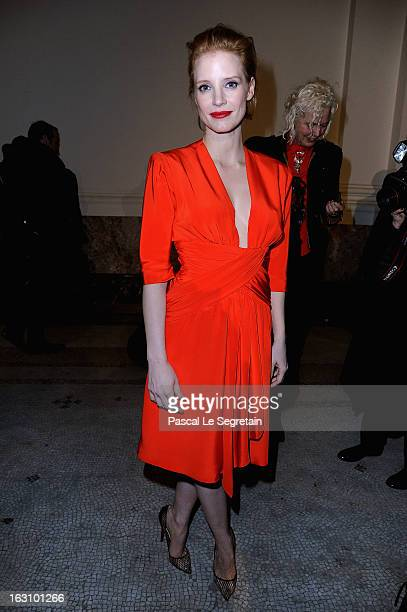 Jessica Chastain attends the Saint Laurent Fall/Winter 2013 ReadytoWear show as part of Paris Fashion Week on March 4 2013 in Paris France