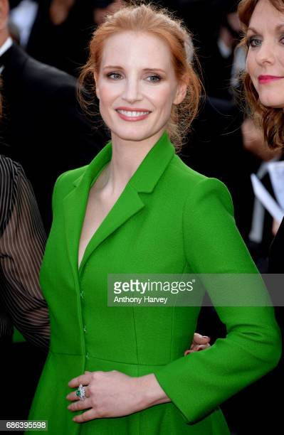 Jessica Chastain attends the 'The Meyerowitz Stories' screening during the 70th annual Cannes Film Festival at Palais des Festivals on May 21 2017 in...