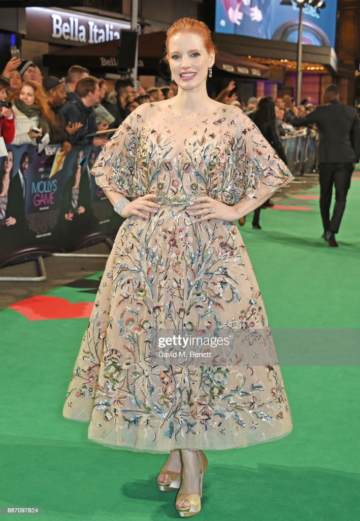 Jessica Chastain attends the UK Premiere of 'Molly's Game' at Vue West End on December 6, 2017 in London, England.