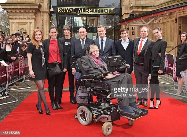 Jessica Chastain Emma Thomas Prof Brian Cox Dr Kip Thorne Prof Stephen Hawking Christopher Nolan Jake Zimmer Hans Zimmer and Zoe Zimmer attend at a...