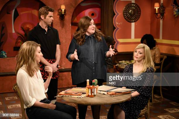 LIVE Jessica Chastain Episode 1736 Pictured Heidi Gardner Mikey Day Aidy Bryant Jessica Chastain during Taco Math in Studio 8H on Saturday January 20...