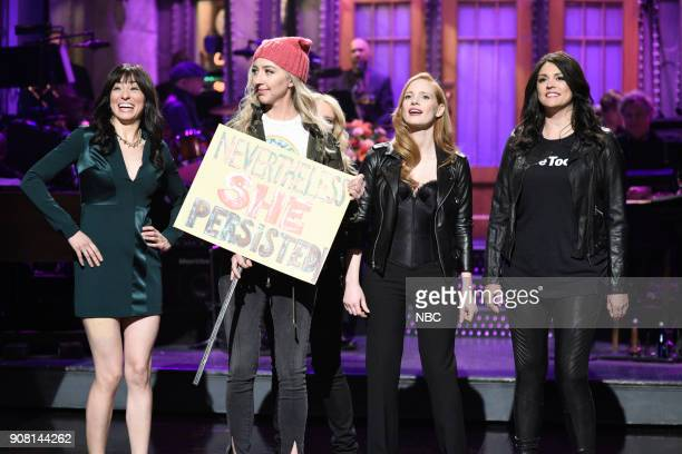 LIVE Jessica Chastain Episode 1736 Pictured Melissa Villaseñor Heidi Gardner Jessica Chastain Cecily Strong during the Opening Monologue in Studio 8H...