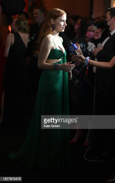 Jessica Chastain is being interviewed ahead of the Chopard Trophy dinner during the 74th annual Cannes Film Festival on July 09, 2021 in Cannes,...