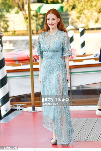 Jessica Chastain is seen arriving at the 78th Venice International Film Festival on September 02, 2021 in Venice, Italy.