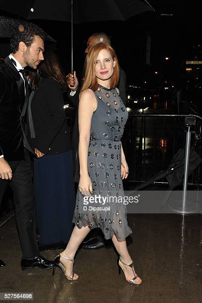 Jessica Chastain is seen arriving at The Standard High Line on May 2, 2016 in New York City.