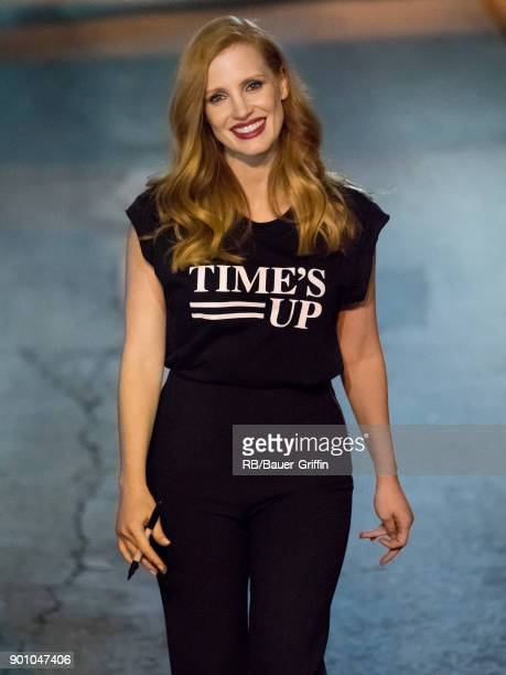Jessica Chastain is seen at 'Jimmy Kimmel Live' on January 03 2018 in Los Angeles California