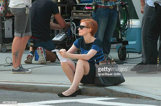 Jessica Chastain is seen on the movie set of 'The Disappearance of Eleanor Rigby' on August 06 2012 in New York City