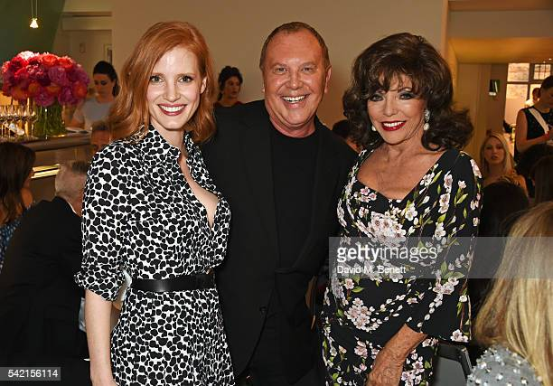 Jessica Chastain Michael Kors and Dame Joan Collins attend a private dinner hosted by Michael Kors to celebrate the new Regent Street Flagship store...