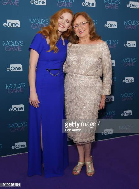 Jessica Chastain poses alongside her grandmother Marilyn Herst during a QA for Molly's Game at Event Cinemas George Street on January 30 2018 in...